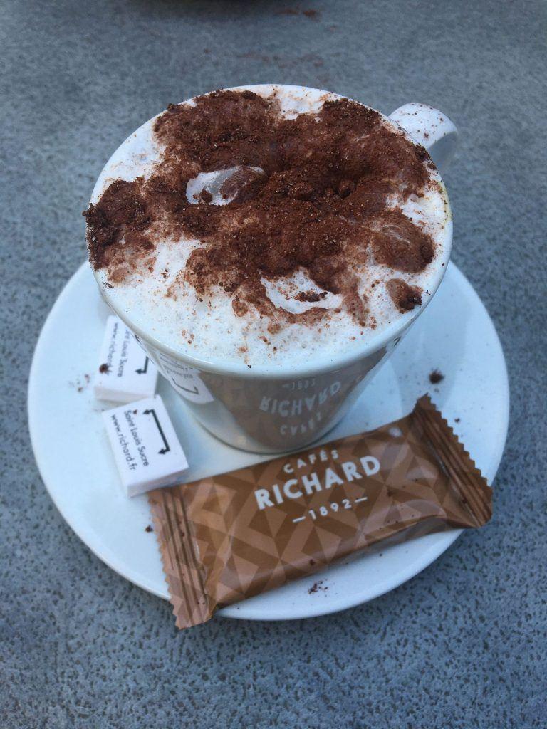 "Delicious cappuccino at ""Le village"""
